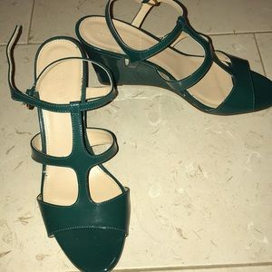 Green patent J Crew wedge sandal
